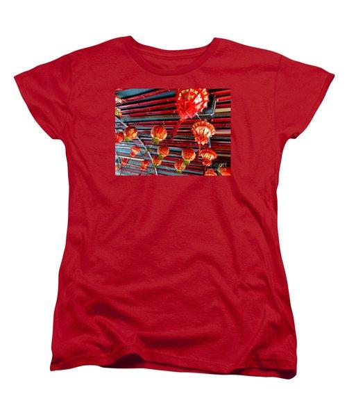 Women's T-Shirt (Standard Cut) featuring the photograph Red Lanterns 3 by Randall Weidner