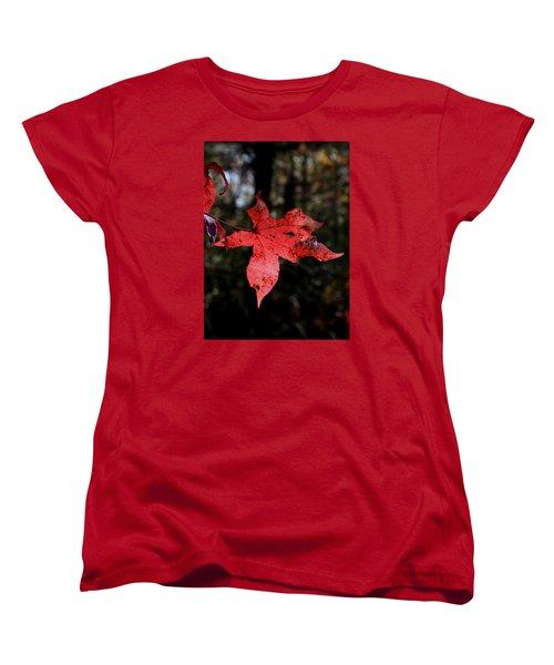 Women's T-Shirt (Standard Cut) featuring the photograph Red Leaf by Karen Harrison