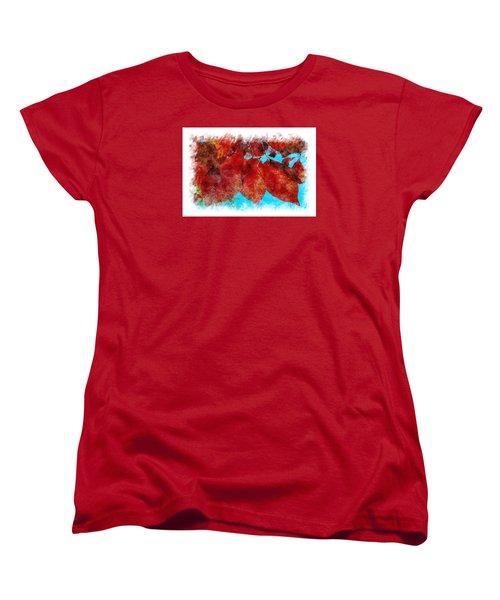 Women's T-Shirt (Standard Cut) featuring the photograph Red Leaves by Jean Bernard Roussilhe