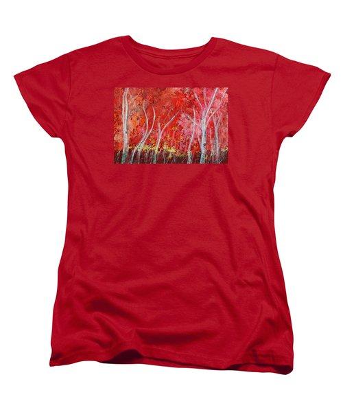 Crimson Leaves Women's T-Shirt (Standard Cut)