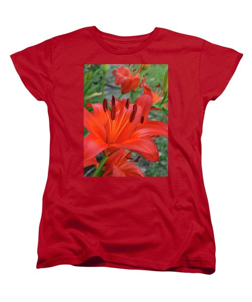 Women's T-Shirt (Standard Cut) featuring the photograph Red Lilies by Rebecca Overton