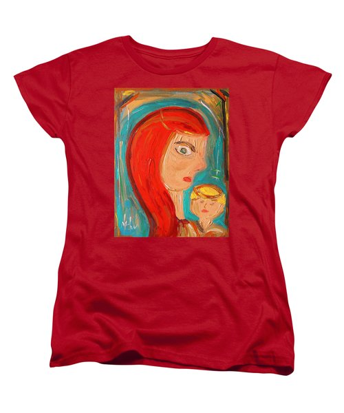 Women's T-Shirt (Standard Cut) featuring the painting Red Madonna by Mary Carol Williams