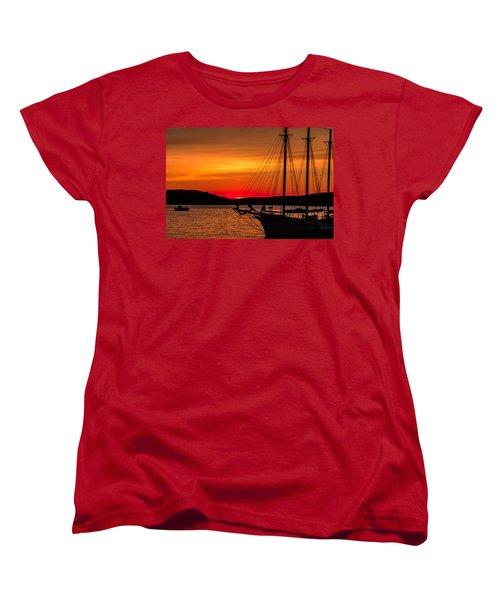 Red Maine Sunrise Women's T-Shirt (Standard Cut) by Steven Bateson