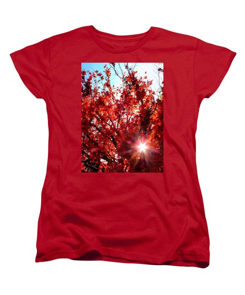 Women's T-Shirt (Standard Cut) featuring the photograph Red Maple Burst by Wendy McKennon