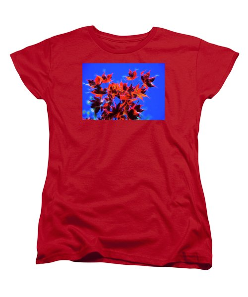 Red Maple Leaves Women's T-Shirt (Standard Cut) by Yulia Kazansky