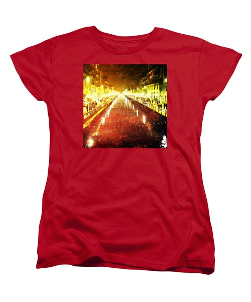 Women's T-Shirt (Standard Cut) featuring the digital art Red Naviglio by Andrea Barbieri
