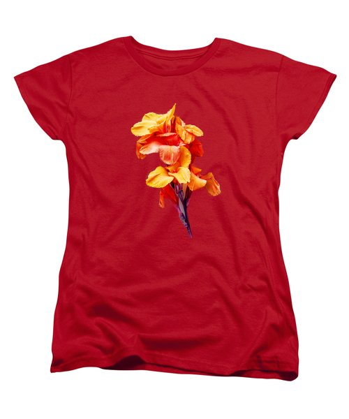 Red Orange Canna Blossom Cutout Women's T-Shirt (Standard Cut) by Linda Phelps