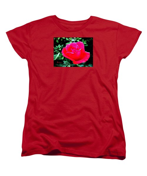 Women's T-Shirt (Standard Cut) featuring the photograph Red-pink Rose by Sadie Reneau