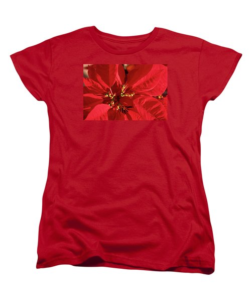Women's T-Shirt (Standard Cut) featuring the photograph Red Poinsettia Macro by Sally Weigand
