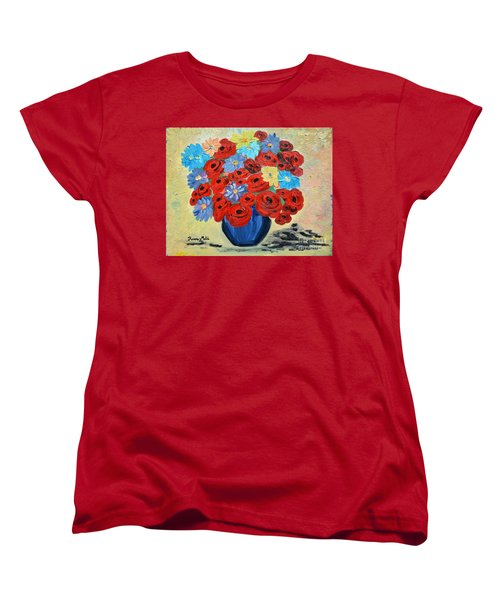 Red Poppies And All Kinds Of Daisies  Women's T-Shirt (Standard Cut) by Ramona Matei