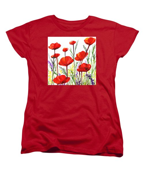 Women's T-Shirt (Standard Cut) featuring the painting Red Poppies Art By Irina Sztukowski by Irina Sztukowski
