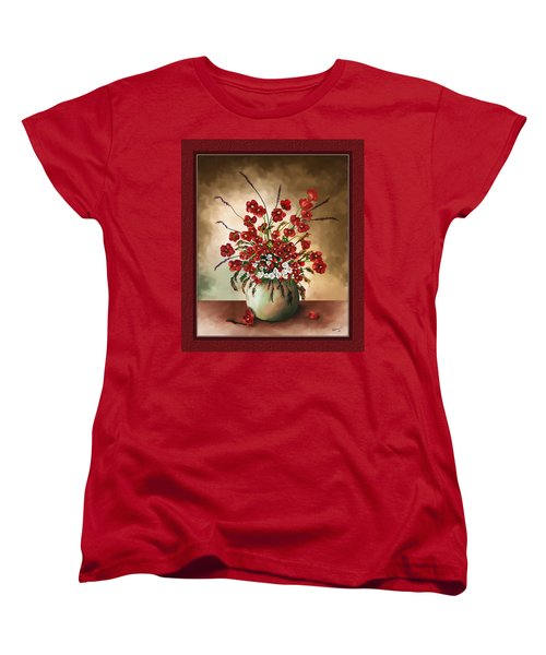 Women's T-Shirt (Standard Cut) featuring the digital art Red Poppies by Susan Kinney