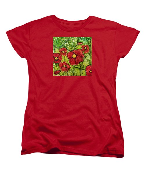 Red Poppies Women's T-Shirt (Standard Cut) by Suzanne Canner