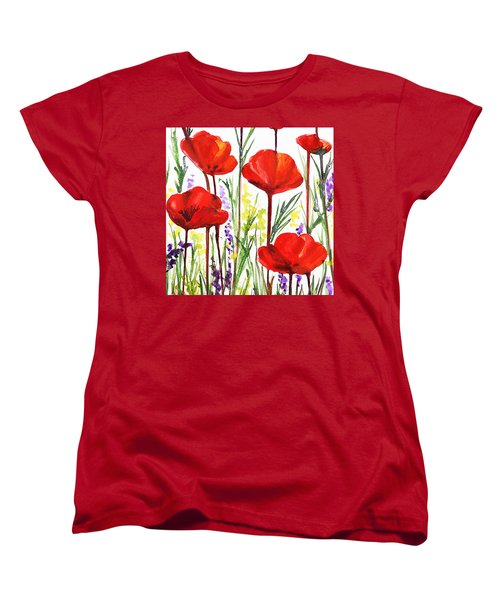 Women's T-Shirt (Standard Cut) featuring the painting Red Poppies Watercolor By Irina Sztukowski by Irina Sztukowski