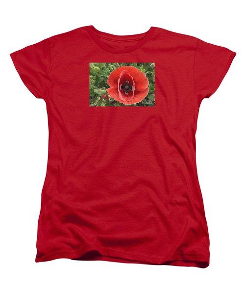 Women's T-Shirt (Standard Cut) featuring the photograph Red Poppy Flower 2 by Jean Bernard Roussilhe