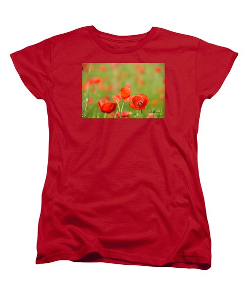 Red Poppy In A Field Of Poppies Women's T-Shirt (Standard Cut) by IPics Photography