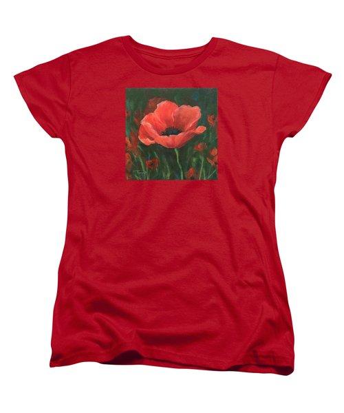 Red Poppy Women's T-Shirt (Standard Cut) by Torrie Smiley