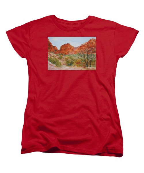 Women's T-Shirt (Standard Cut) featuring the painting Red Rock Canyon by Vicki  Housel