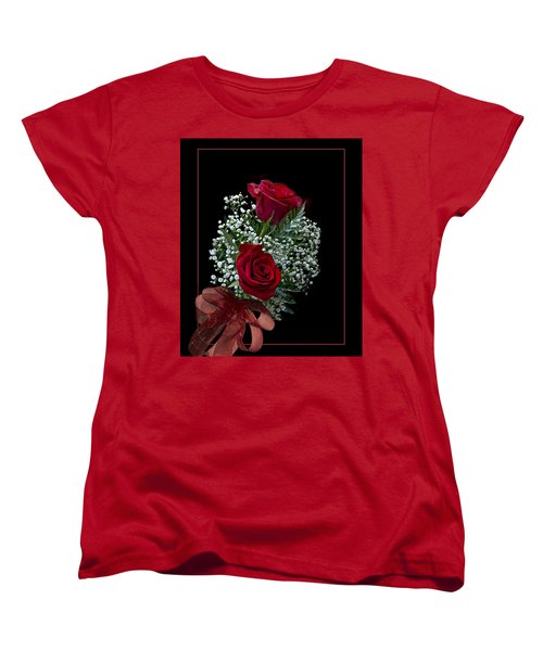 Red Roses For A Blue Lady Women's T-Shirt (Standard Cut) by Judy Johnson