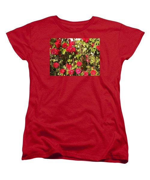 Red Roses In Summertime Women's T-Shirt (Standard Cut) by Arletta Cwalina