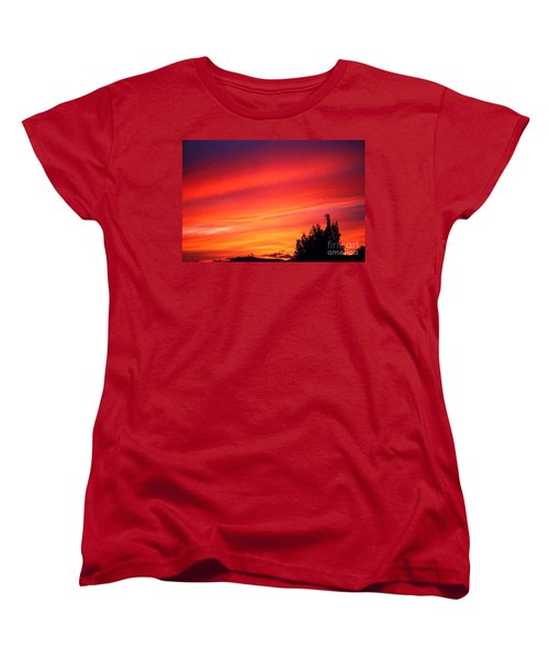 Women's T-Shirt (Standard Cut) featuring the photograph Red Skies At Night  by Nick Gustafson