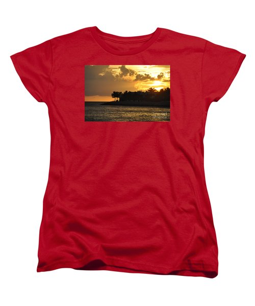 Women's T-Shirt (Standard Cut) featuring the photograph Red Sky At Night Over Sunset Key by John Black