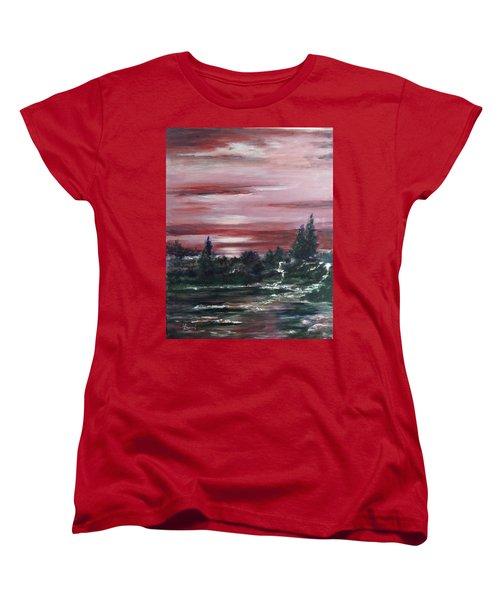 Women's T-Shirt (Standard Cut) featuring the painting Red Sun Set  by Laila Awad Jamaleldin