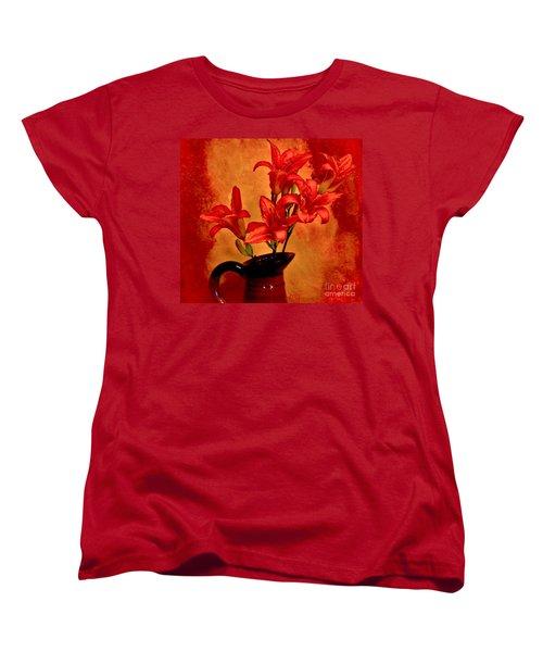 Red Tigerlilies In A Pitcher Women's T-Shirt (Standard Cut) by Marsha Heiken