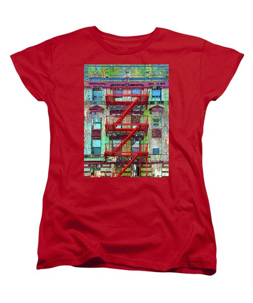 Women's T-Shirt (Standard Cut) featuring the mixed media Red by Tony Rubino