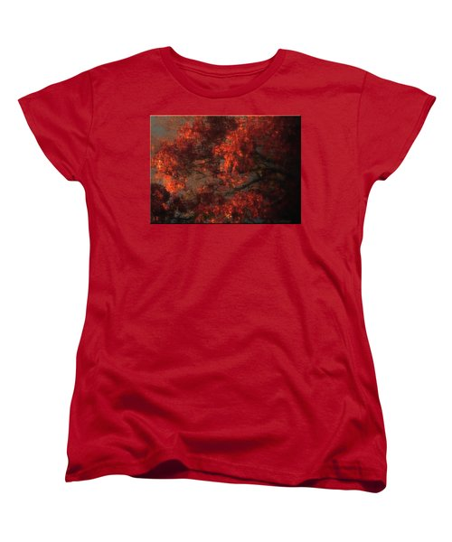 Red Tree Scene Women's T-Shirt (Standard Cut) by Mikki Cucuzzo