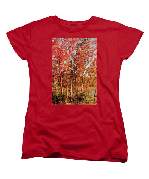 Women's T-Shirt (Standard Cut) featuring the photograph Red Trees by Iris Greenwell