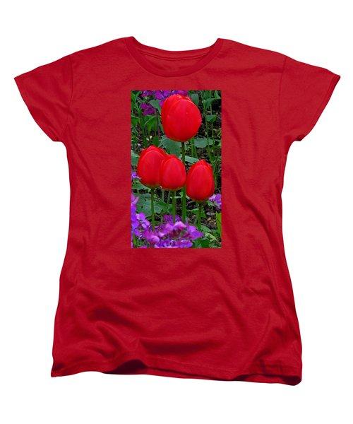 Red Tulips Women's T-Shirt (Standard Cut) by John Topman