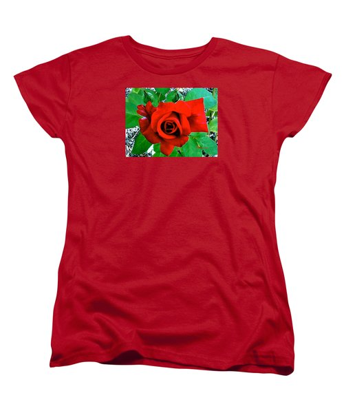 Women's T-Shirt (Standard Cut) featuring the photograph Red Velvet Rose by Sadie Reneau