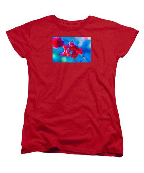 Women's T-Shirt (Standard Cut) featuring the photograph Red Viburnum Berries by Alexander Senin