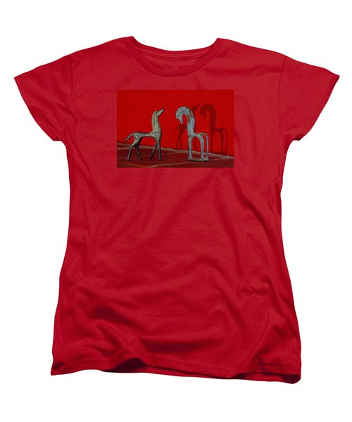 Women's T-Shirt (Standard Cut) featuring the digital art Red Wall Horse Statues by Jana Russon
