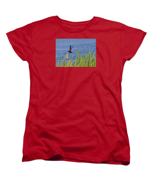 Red Wing Bow Women's T-Shirt (Standard Cut) by Shelly Gunderson