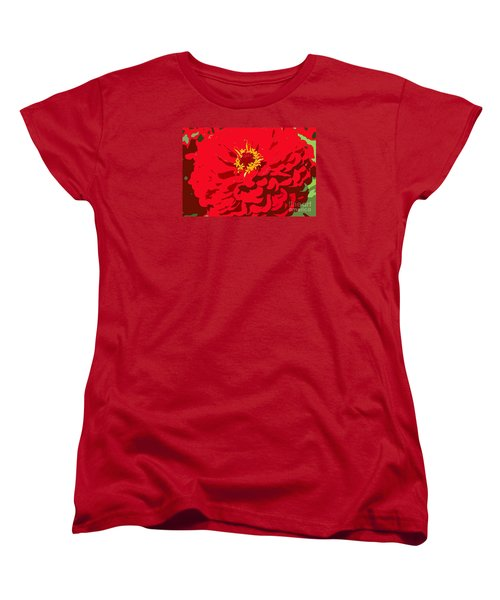 Women's T-Shirt (Standard Cut) featuring the photograph Red Zinnia by Jeanette French