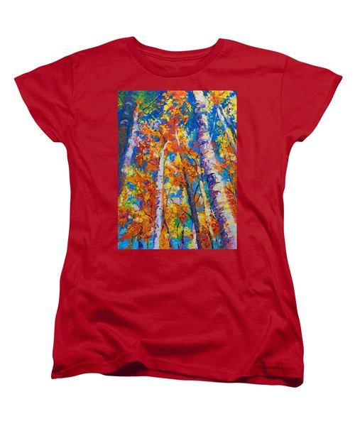 Redemption - Fall Birch And Aspen Women's T-Shirt (Standard Cut) by Talya Johnson