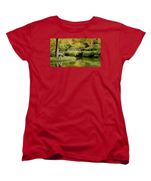 Women's T-Shirt (Standard Cut) featuring the photograph Reflections In The Japanese Garden by Iris Greenwell