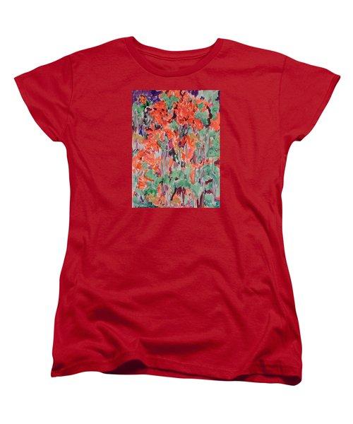 Regal Red Fall Foliage Women's T-Shirt (Standard Cut) by Esther Newman-Cohen