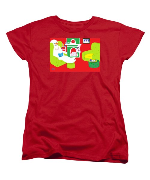 Women's T-Shirt (Standard Cut) featuring the digital art Relaxing Snowman by Barbara Moignard