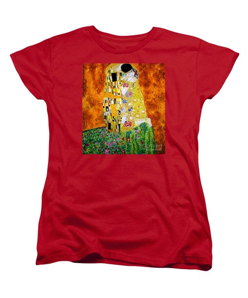 Women's T-Shirt (Standard Cut) featuring the painting Reproduction Of The Kiss By Gustav Klimt by Zedi