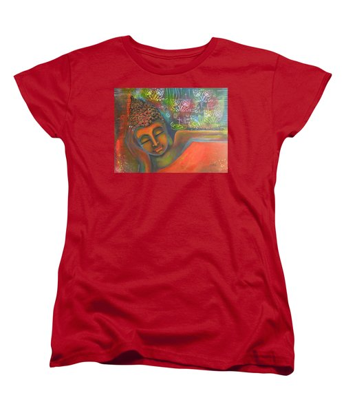 Women's T-Shirt (Standard Cut) featuring the painting Buddha Resting Against A Colorful Backdrop by Prerna Poojara