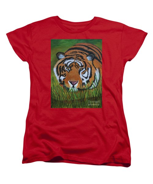 Women's T-Shirt (Standard Cut) featuring the painting Resting Tiger  by Myrna Walsh