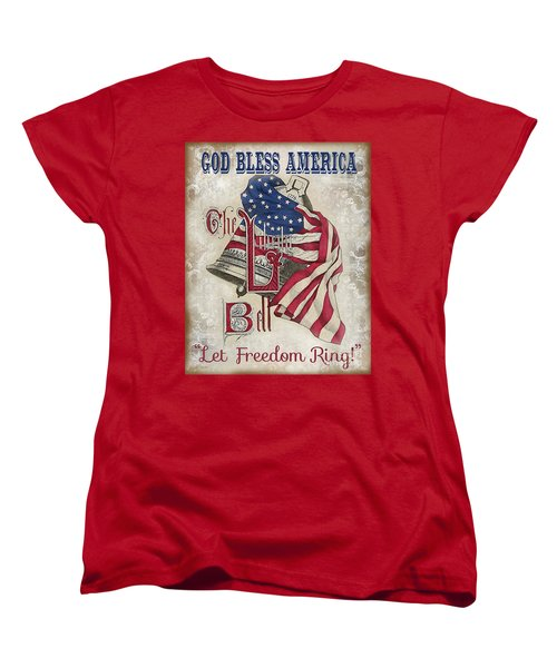 Women's T-Shirt (Standard Cut) featuring the digital art Retro Patriotic-a by Jean Plout