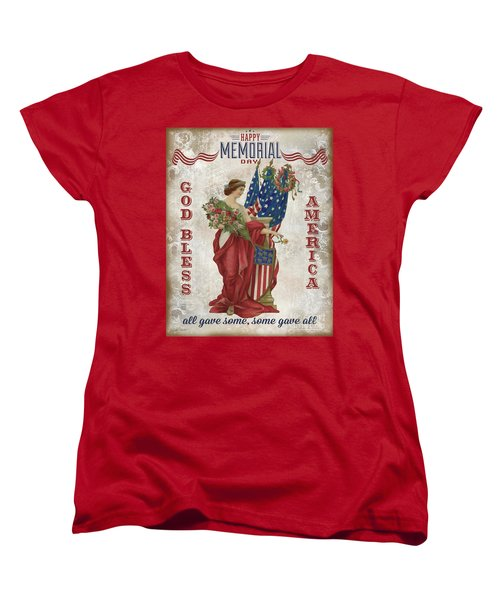 Women's T-Shirt (Standard Cut) featuring the digital art Retro Patriotic-b by Jean Plout