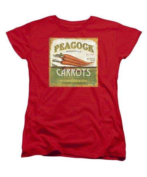 Retro Veggie Label 2 Women's T-Shirt (Standard Cut) by Debbie DeWitt