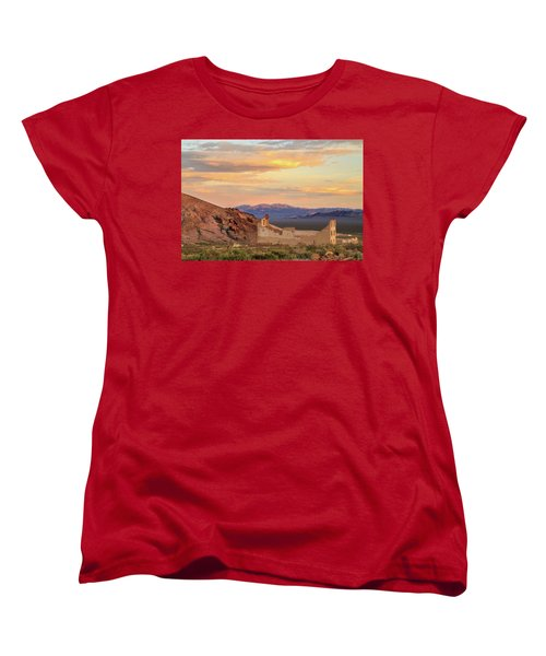 Women's T-Shirt (Standard Cut) featuring the photograph Rhyolite Bank At Sunset by James Eddy