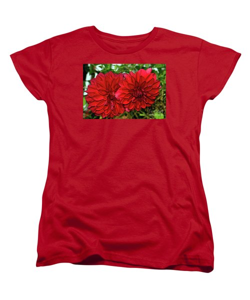 Women's T-Shirt (Standard Cut) featuring the photograph Rich Red Dahlias By Kaye Menner by Kaye Menner