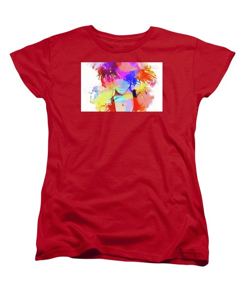 Rihanna Paint Splatter Women's T-Shirt (Standard Cut) by Dan Sproul